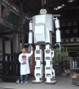 4mのヒト型二足歩行ロボ「はじめ43号」お披露目