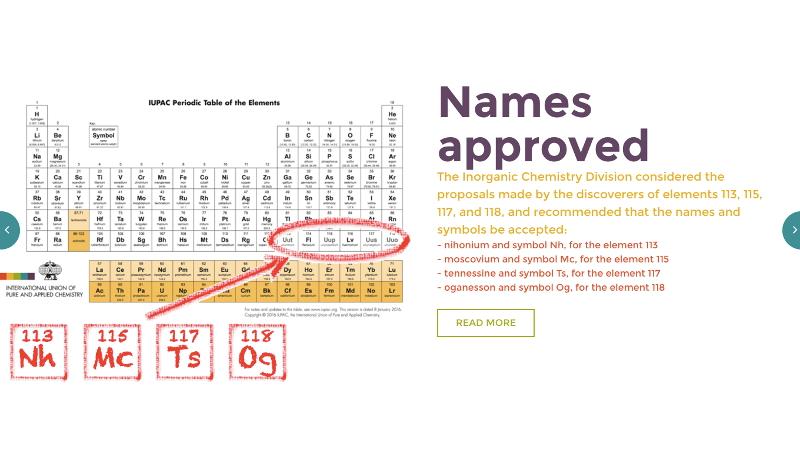113番元素はニホニウムに IUPACが4つの新元素の正式名を発表
