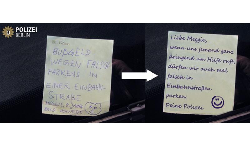 9歳の少女から警察に手書きの「駐禁カード」(ドイツ)