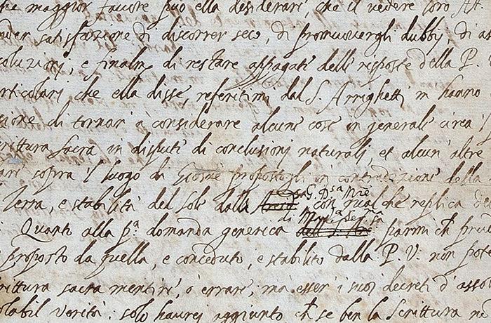 ガリレオの手紙発見 異端審問に対し表現を修正していた