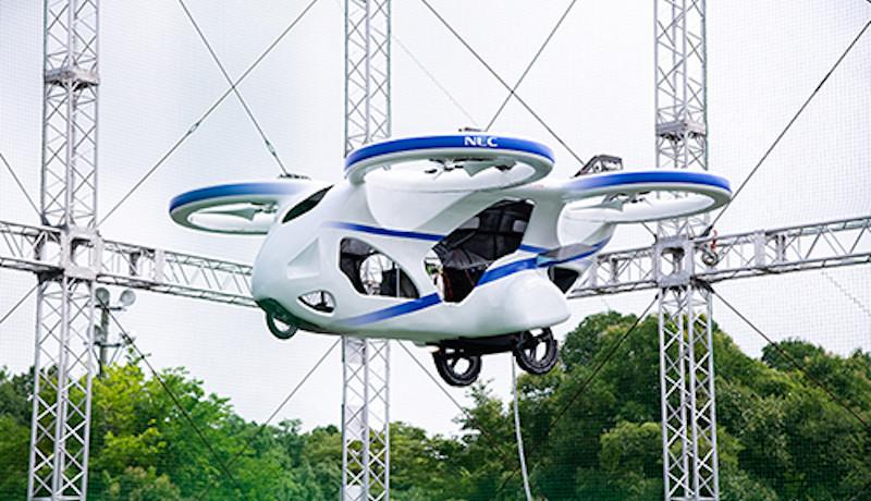 空の移動革命の実現に向けて NEC、「空飛ぶクルマ」試作機の浮上実験に成功